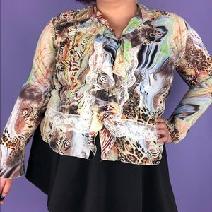 Y2k Fairycore Ruffled Printed Blouse Lace Outline